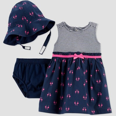 Baby Girls' 2pc Flamingo Dress Set with Hat - Just One You® made by carter's Blue 6M