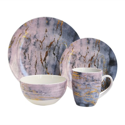 American Atelier 16pc Porcelain Marble Dinnerware Set Purple/Gold