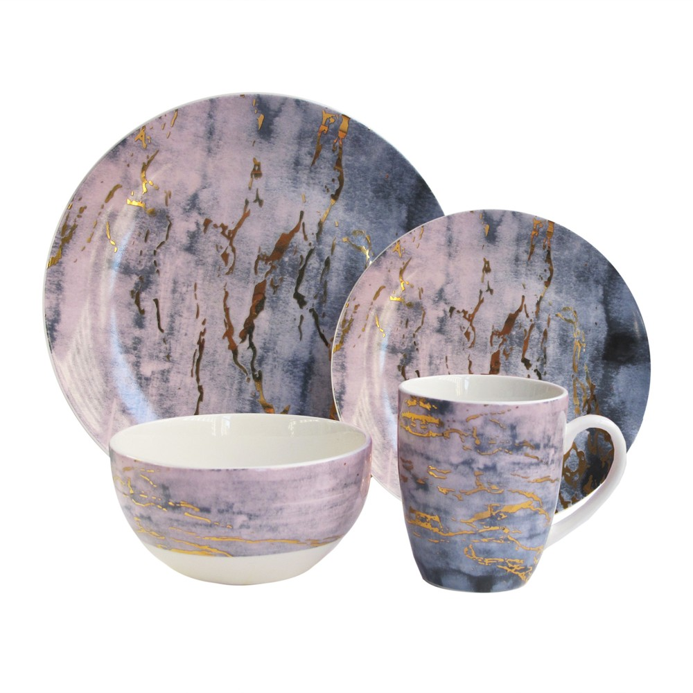 Image of American Atelier 16pc Porcelain Marble Dinnerware Set Purple/Gold