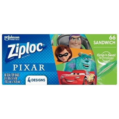 Ziploc Brand Sandwich Bags featuring Disney and Pixar Designs - 66ct