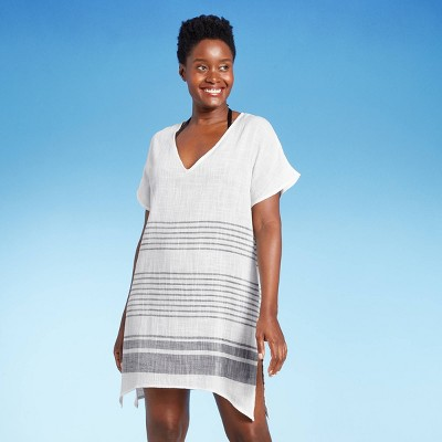 Women's V-Neck Cover Up Dress - Kona Sol™ Fresh White Stripe