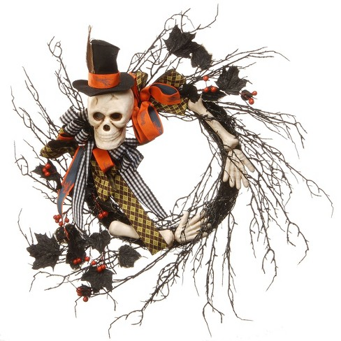"""24"""" Halloween Skull and Rose Twig Wreath - image 1 of 1"""