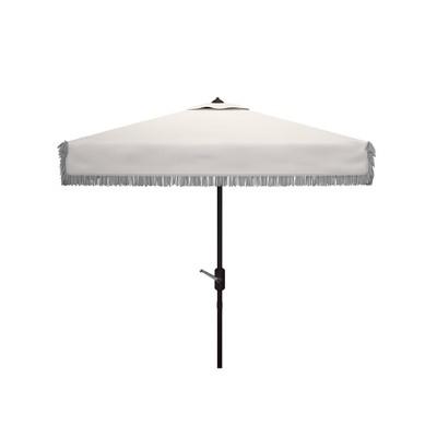 7.5' Square Milan Fringe Crank Umbrella - Safavieh
