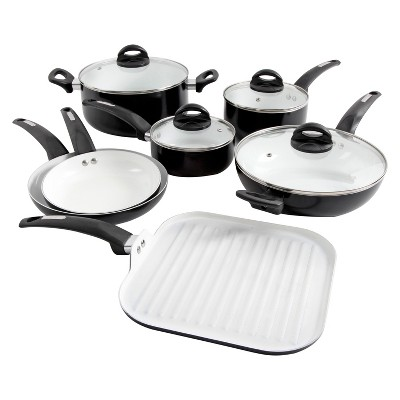 Oster Herstal 11pc White Ceramic Interior Aluminum Cookware Set Black
