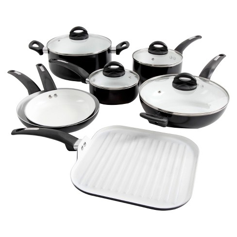 Oster Herstal 11pc White Ceramic Interior Aluminum Cookware Set Black - image 1 of 1