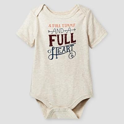 Baby Boys' Short Sleeve Full Body Full Heart Bodysuit - Cat & Jack™ Oatmeal 3-6M