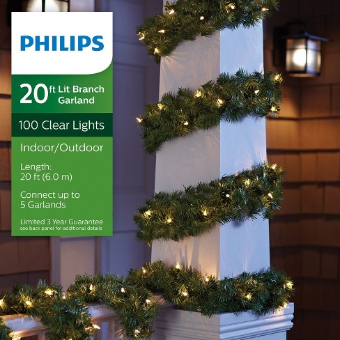philips 20 christmas prelit clear artificial pine garland target