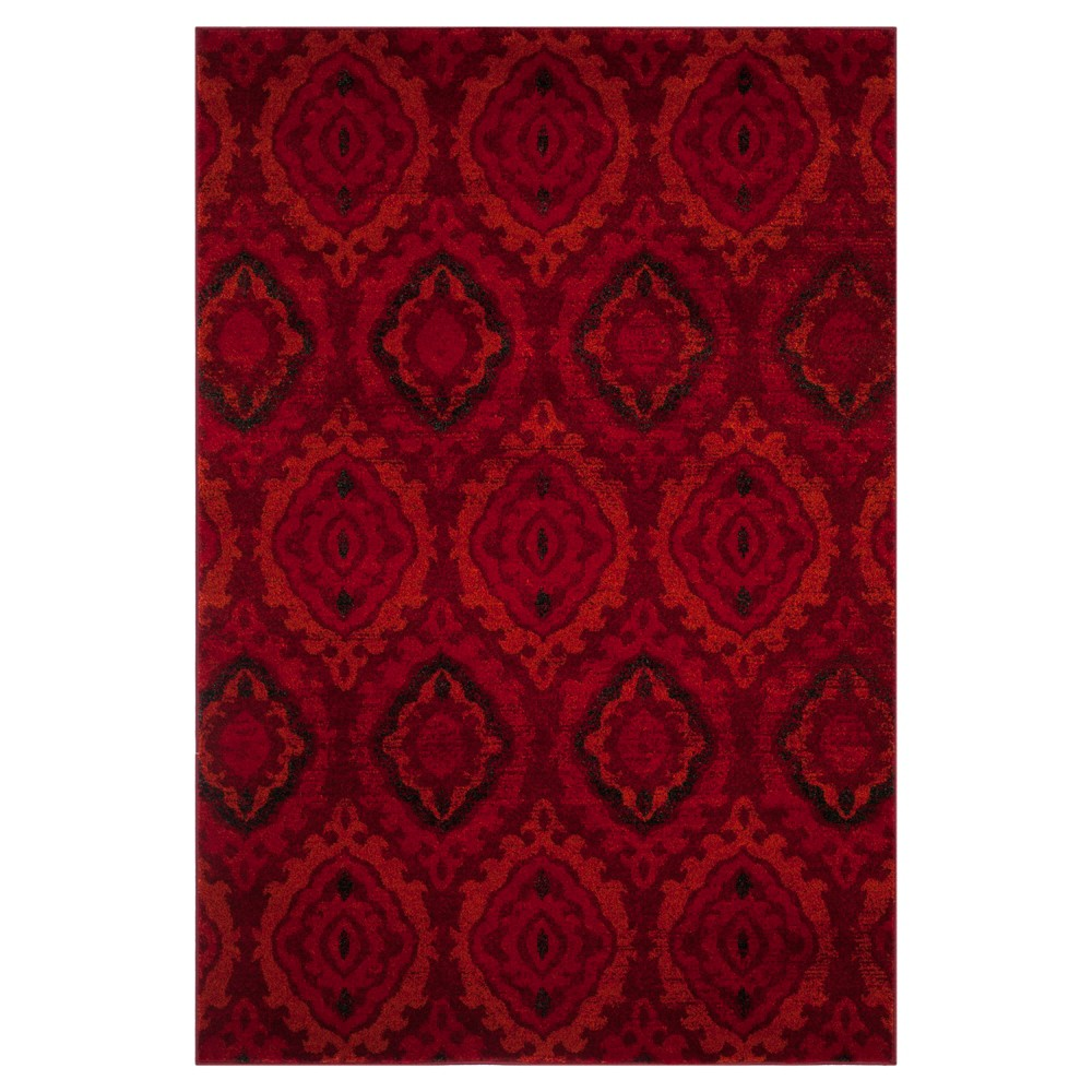 Red/Orange Abstract Loomed Area Rug - (6'7