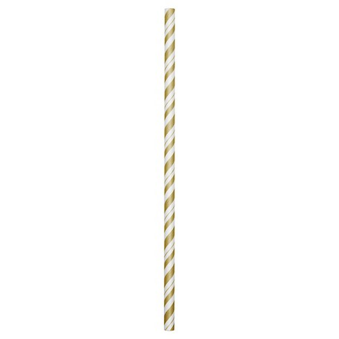 Gold and White Striped Paper Straws - 24 Pack - image 1 of 2