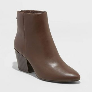 Women's Bren Faux Leather Zipper Back Bootie - A New Day™ Brown 7.5