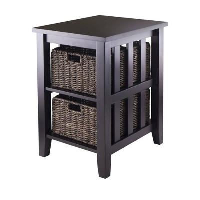 Morris Side Table with Baskets - Espresso, Chocolate - Winsome