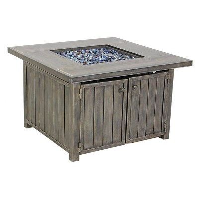 "23.5"" Pacific Casual Casa Grande Aluminium Gas Fire Pit Chat Table - Brown"