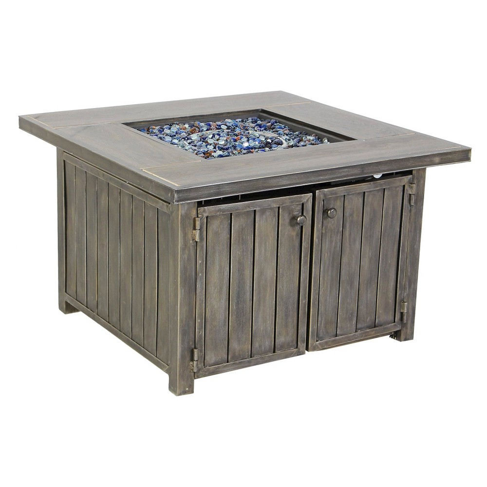 Pacific Casual Casa Grande Aluminium Gas Fire Pit Chat Table - Brown