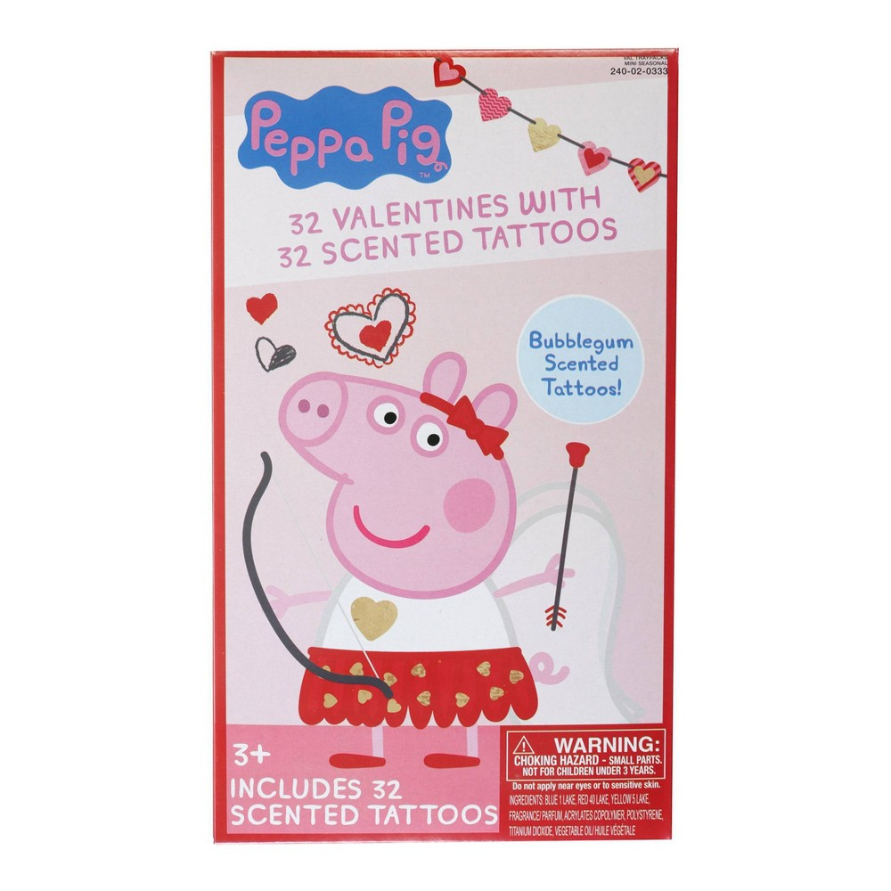 Image of Peppa Pig 32ct Valentines With Bubblegum Scented Tattoo