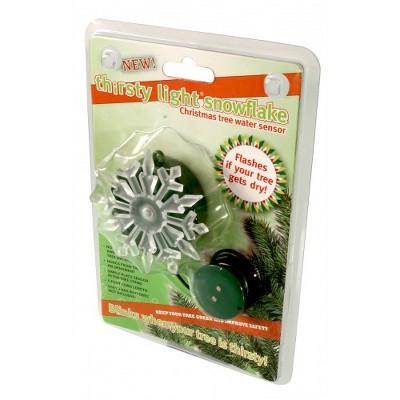 "Hydrofarm 3.5"" Green Thirsty Light Battery Operated Blinking Snowflake Christmas Tree Water Sensor"