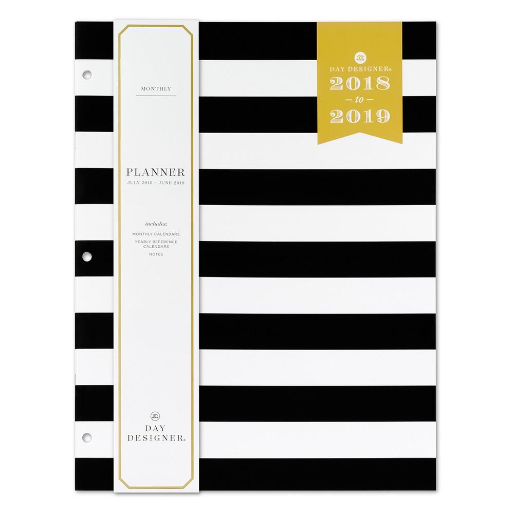 2018 - 2019 Stapled Day Designer Stripe Monthly Weekly Planner - Black/White