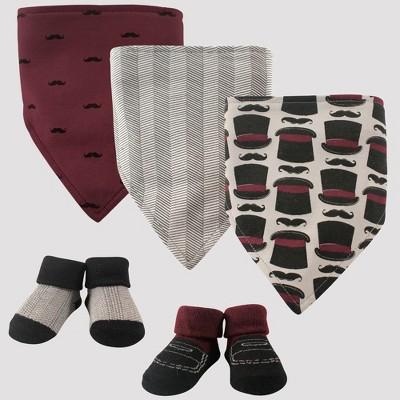 Hudson Baby Boys' 5pc Bandana Bib and Socks Set, Top Hats - Red 0-12M