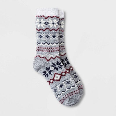 Women's Snowflake Fair Isle Double Lined Cozy Crew Socks - A New Day™ 4-10