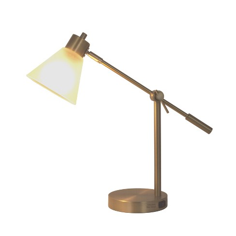 Articulated Task Lamp with Outlet Frosted Shade - Threshold™ - image 1 of 5