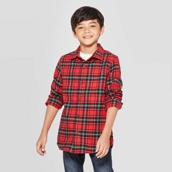 Boys' Check Long Sleeve Button-Down Shirt - Cat & Jack™ Red