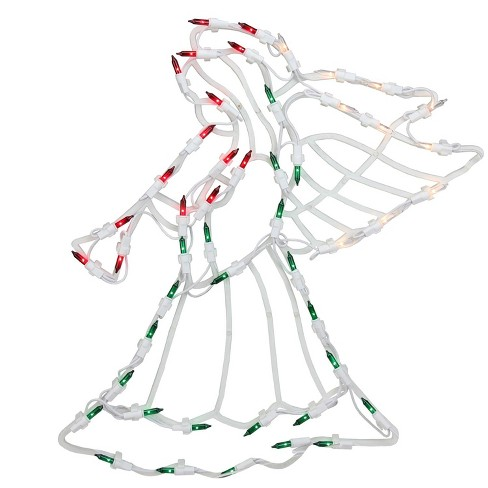 "Northlight 18"" Lighted Red, White and Green Angel Christmas Window Silhouette Decoration - image 1 of 4"