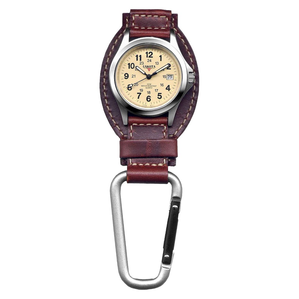 Image of Men's Dakota Leather Clip Watch - Brown, Size: Small