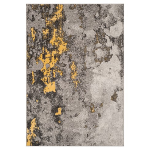 Gray Yellow Splatter Loomed Area Rug 8