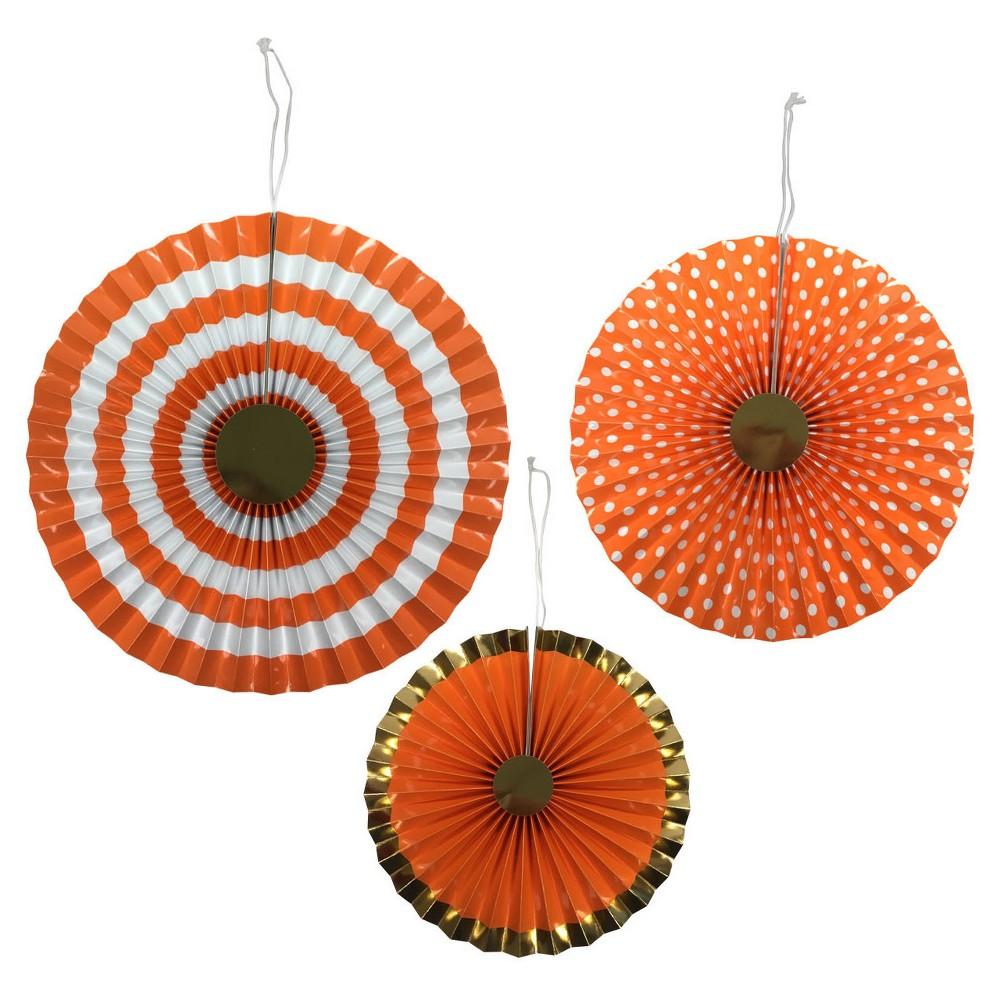 3ct Orange Paper Fan - Spritz, Women's