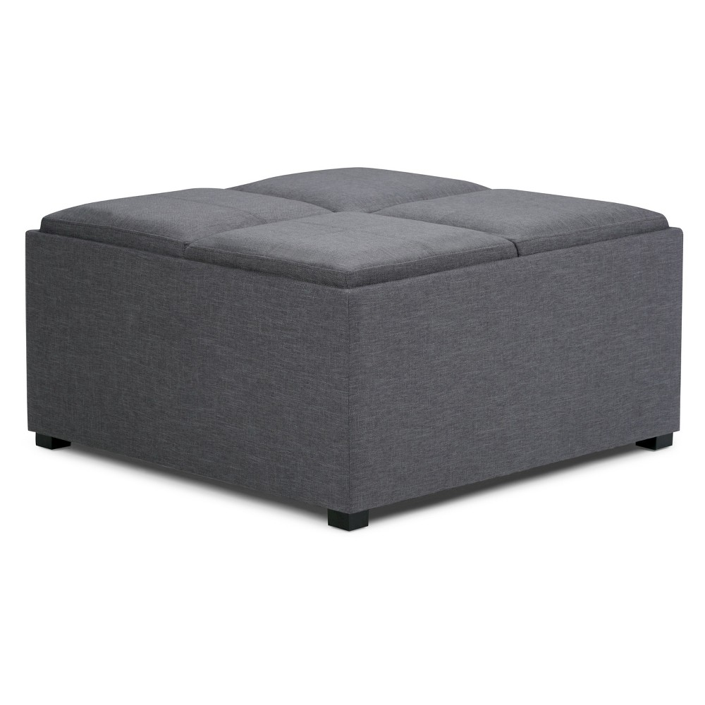 FranklSquare Coffee Table Storage Ottoman Slate Gray Linen Look Fabric - Wyndenhall