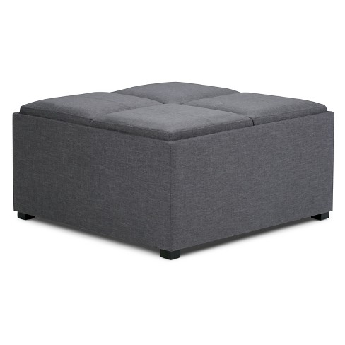 Avalon Coffee Table Storage Ottoman With 4 Serving Trays Simpli Home