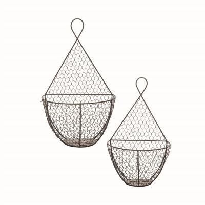 Set of 2 Metal Wire Hanging Wall Baskets - Foreside Home and Garden