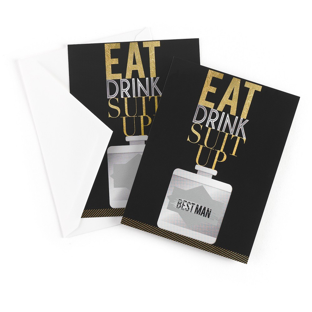 Eat Drink Suit Up Scratch Off Card Best Man, Multicolored