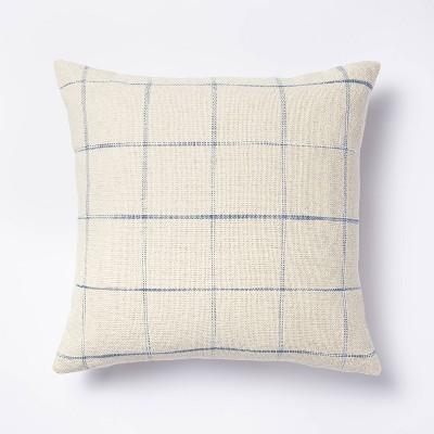 Windowpane Square Throw Pillow Cream/Blue - Threshold™ designed with Studio McGee