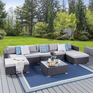 Santa Rosa 8pc Wicker Sectional Seating Set - Gray/Silver - Christopher Knight Home