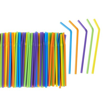 Juvale 300 Count Bulk Smoothie Straws - Bendy Straws - Colorful Flexible Plastic Drinking Straws for Birthdays, Parties, Celebrations, Multiple Colors