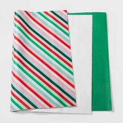 30ct Juve Christmas Tissue Green White and Striped - Wondershop™