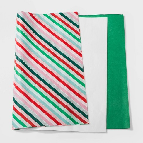 30ct Juve Christmas Tissue Green White and Striped - Wondershop™ - image 1 of 1