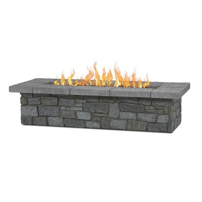 Sedona Large Rectangle Fire Pit with NG Conversion Gray - Real Flame