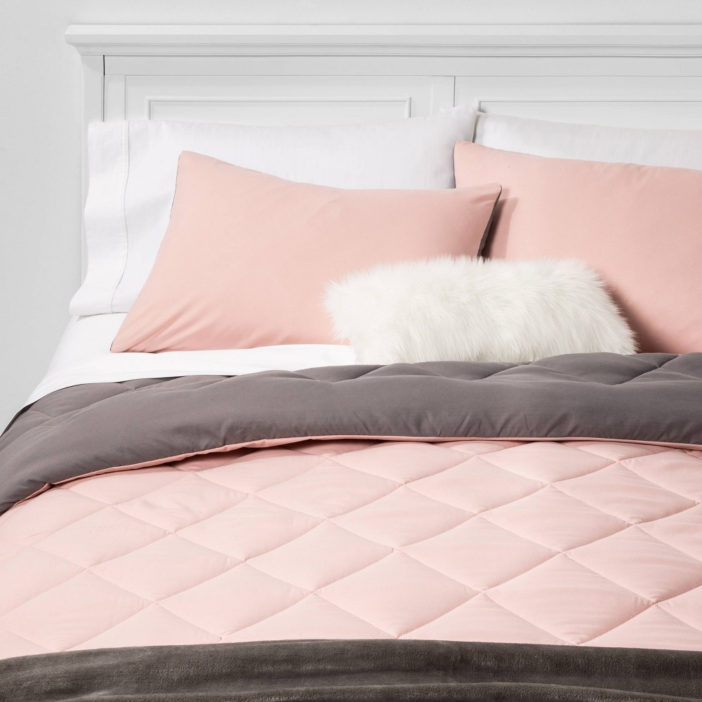 Twin/Twin Extra Long Solid Bed in a Bag Blush - Room Essentials