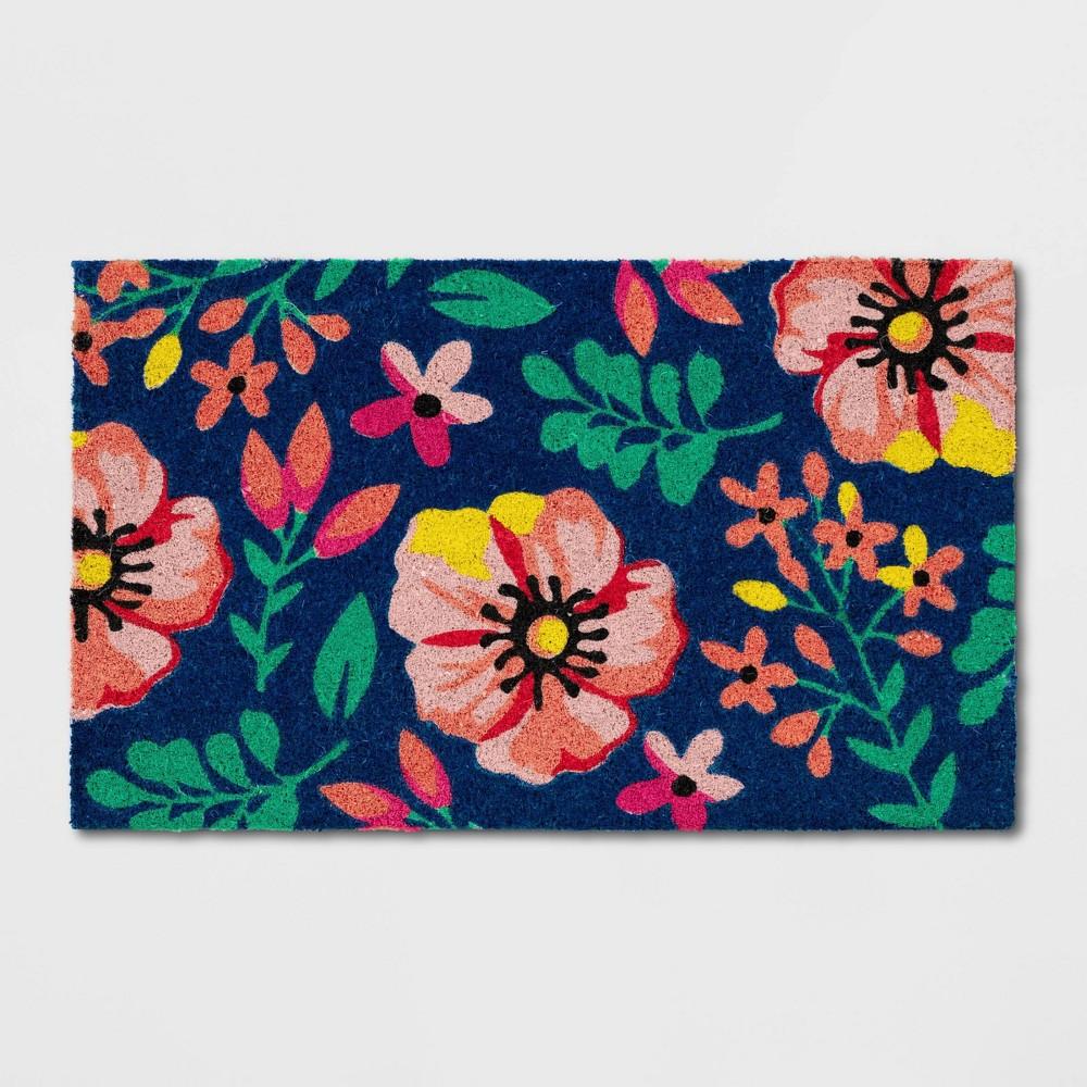 Floral Coir Doormat Blue
