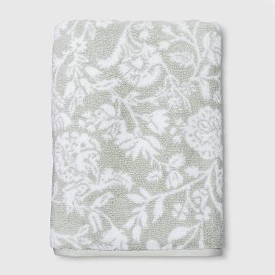 Performance Texture Bath Sheet Sage Floral - Threshold™