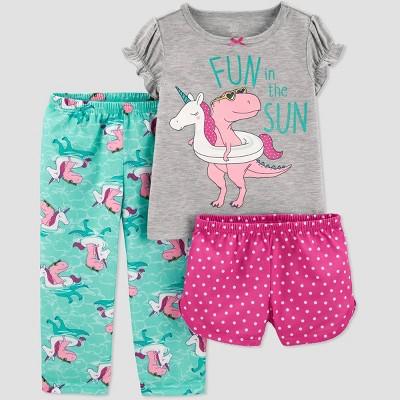 Baby Girls' 3pc Dino Poly Pajama Set - Just One You® made by carter's Gray/Aqua 12M