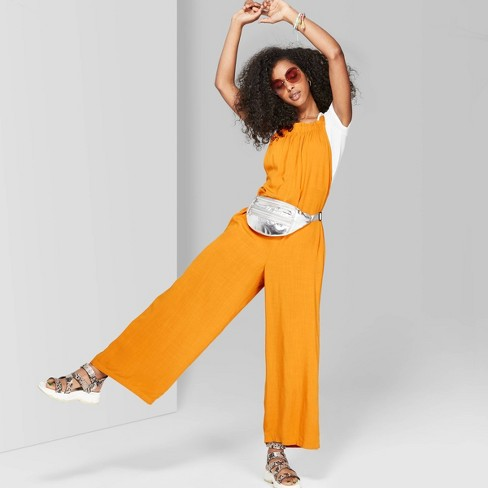 Women's Strappy Square Neck Waistless Woven Jumpsuit - Wild Fable™ Orange - image 1 of 3