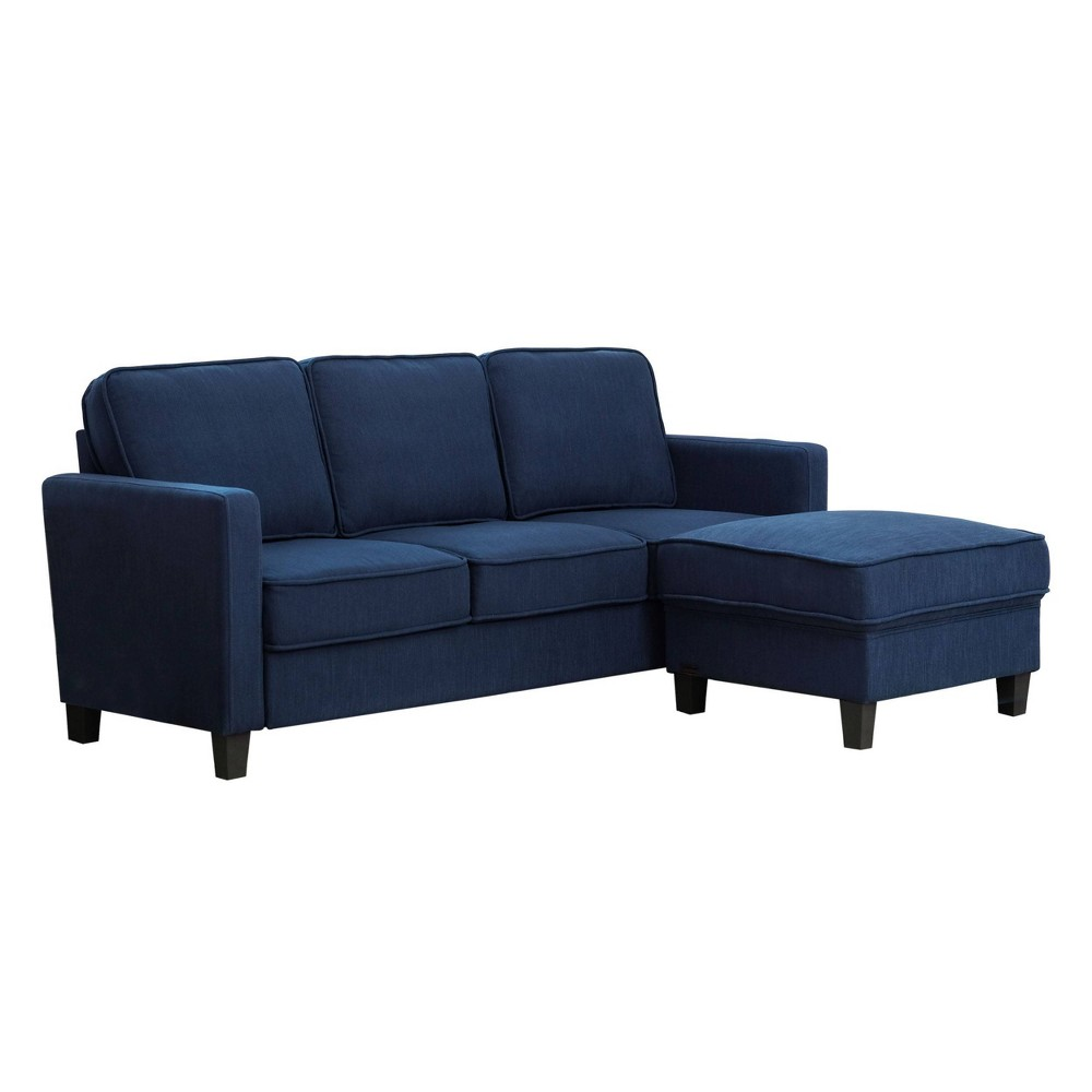 2pc Kiara Fabric Sofa & Ottoman Set Navy (Blue) - Abbyson Living