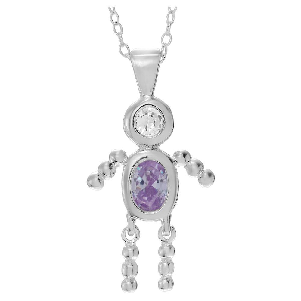 1/6 CT. T.W. Oval-cut CZ Bezel Set Birthstone Boy Pendant Necklace in Sterling Silver - Pink (18), Lavender