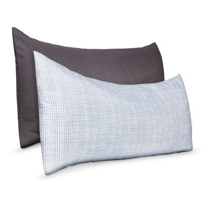 2pk Body Pillow Cover - Gray Print/Solid - Room Essentials™