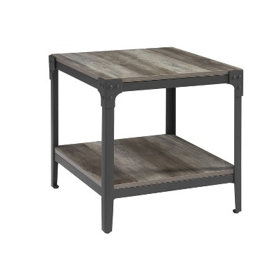 Set of 2 Rustic Wood End Side Tables Gray Wash - Saracina Home