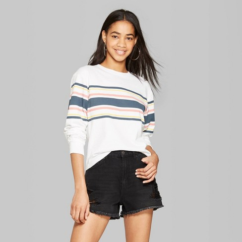 51065397325 Women's Striped Long Sleeve Crewneck Placed Skater T-Shirt - Wild Fable™  Fresh White