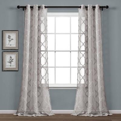 "Set of 2 38""x84"" Avon Trellis Grommet Top Sheer Window Curtain Panels Gray - Lush Décor"