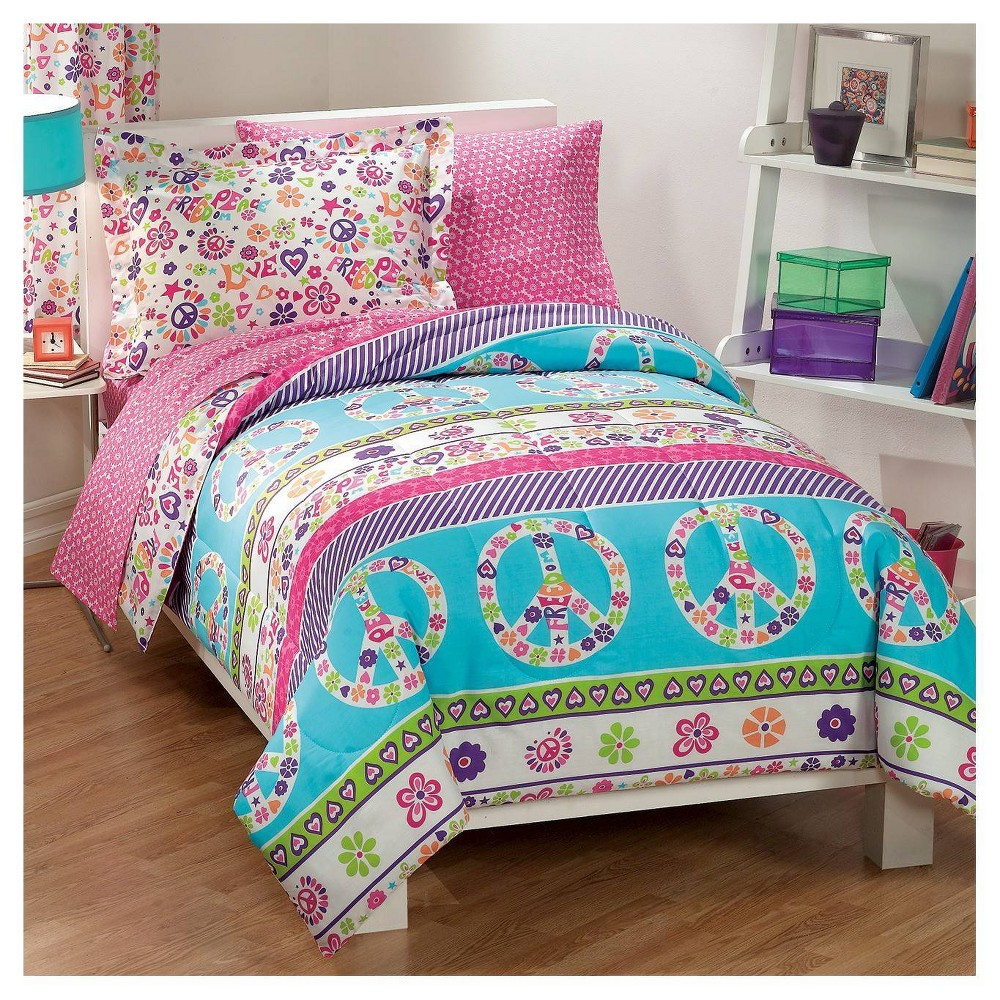 Image of Dream Factory Peace & Love Mini Bed-in-a-Bag - Pink (Full)